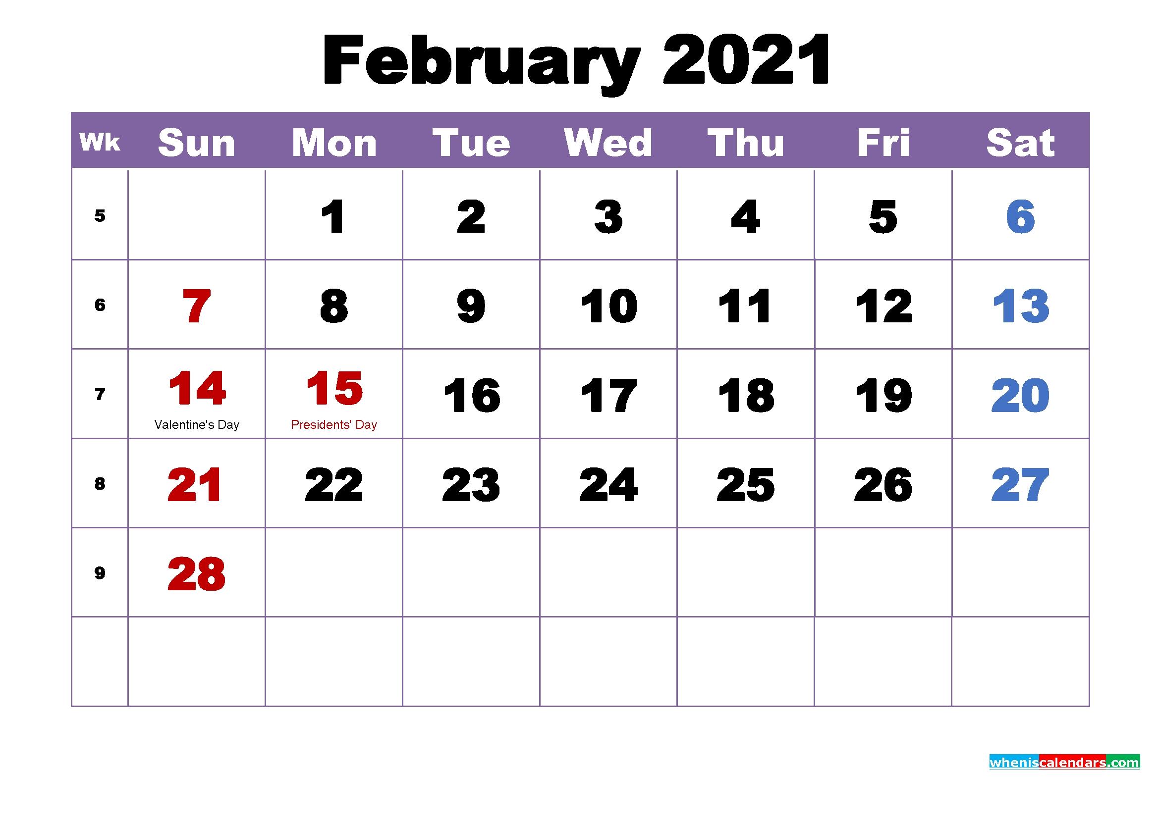 February 2021 Printable Calendar With Holidays Word, Pdf - Free Printable 2020 Monthly Calendar