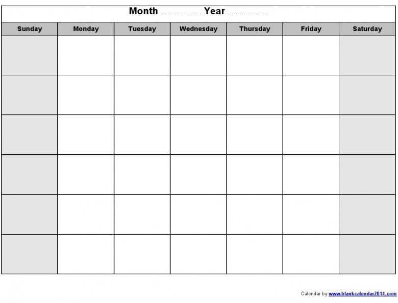 Fill In Printable Monthly Calendar :-Free Calendar Template
