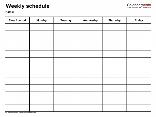 Five Day Calendar Template Free | Printable Calendar Template 2020