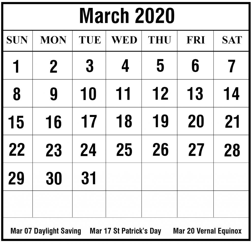 Free Blank March 2020 Calendar Printable In Pdf, Word, Excel | Printable Calendar Diy | Free