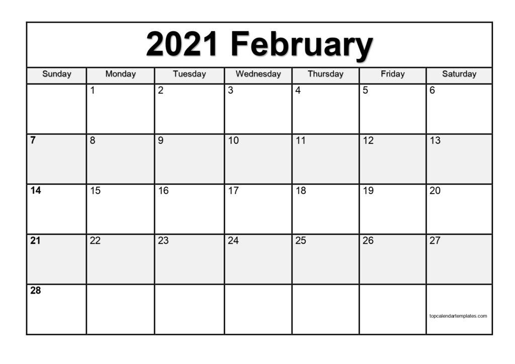 Free February 2021 Calendar Printable (Pdf, Word)