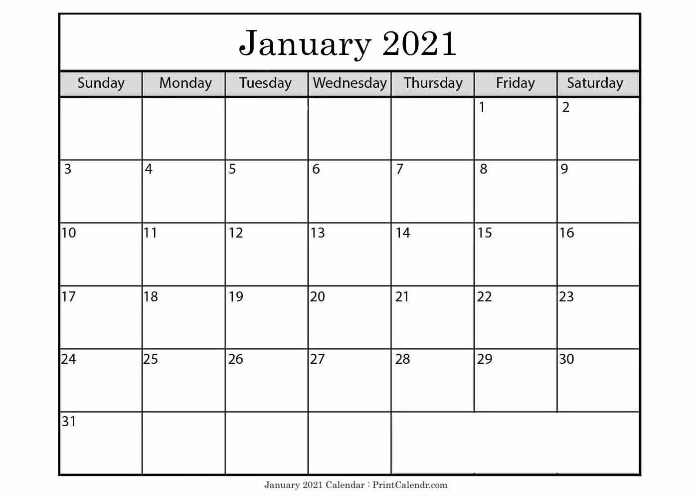 Free January 2021 Calendar Printable - Print Calendar