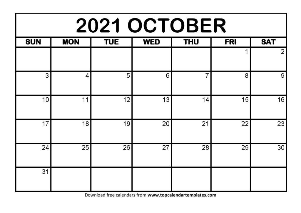 Free October 2021 Calendar Printable (Pdf, Word) Templates