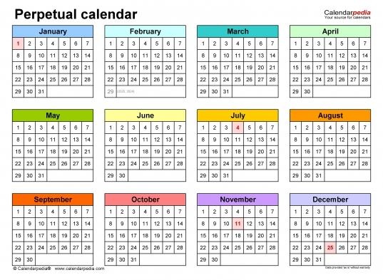 Free Perpetual Calendar Chart | Printable Calendar Template 2020