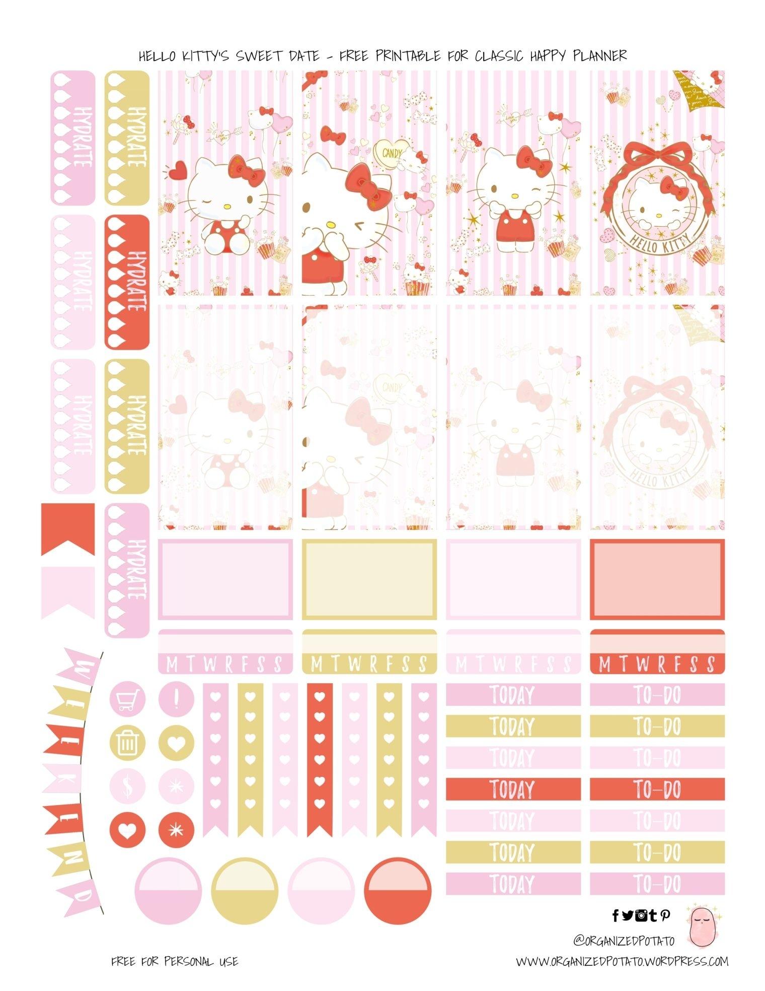 Free Planner Printable: Hello Kitty'S Sweet Date | Printable Planner, Happy Planner, Free Planner