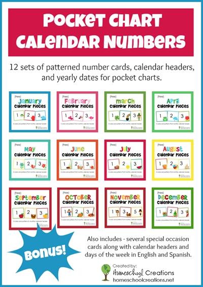 Free Pocket Chart Calendar Card Set For The Entire Year! | Preschool Calendar, Calendar Numbers