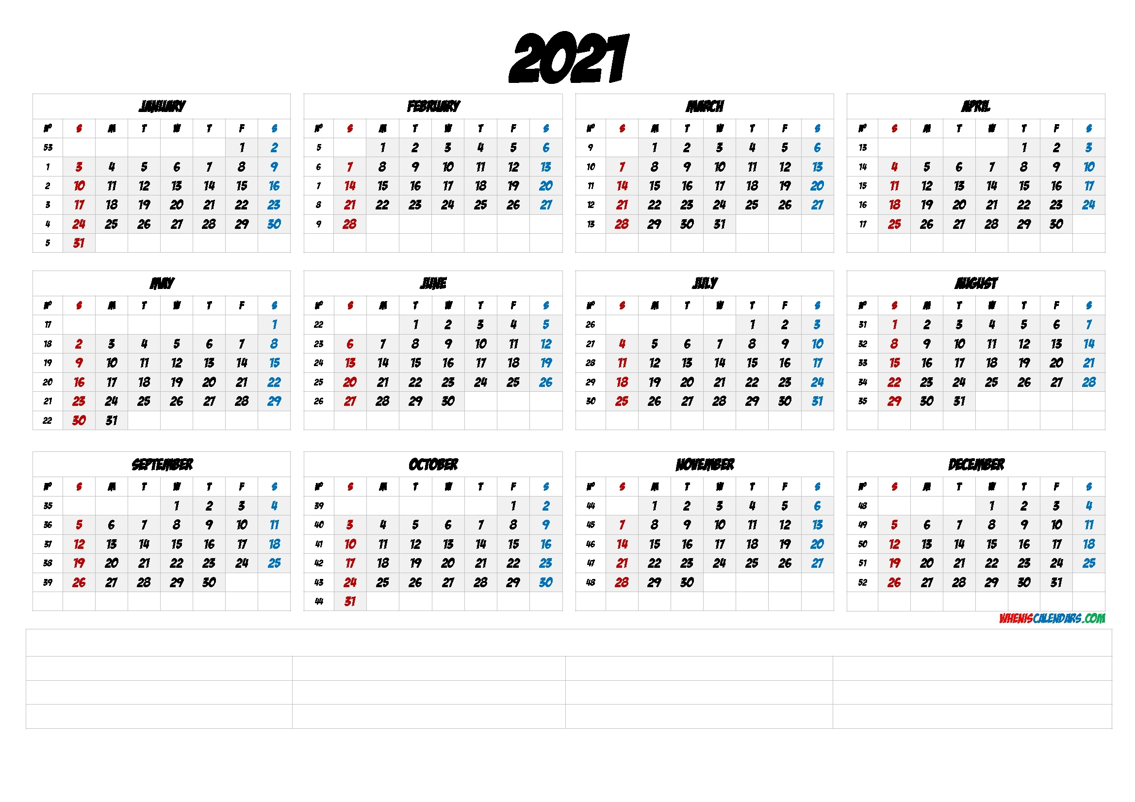 Free Printable 2021 Yearly Calendar With Week Numbers (6 Templates) - Free Printable 2020