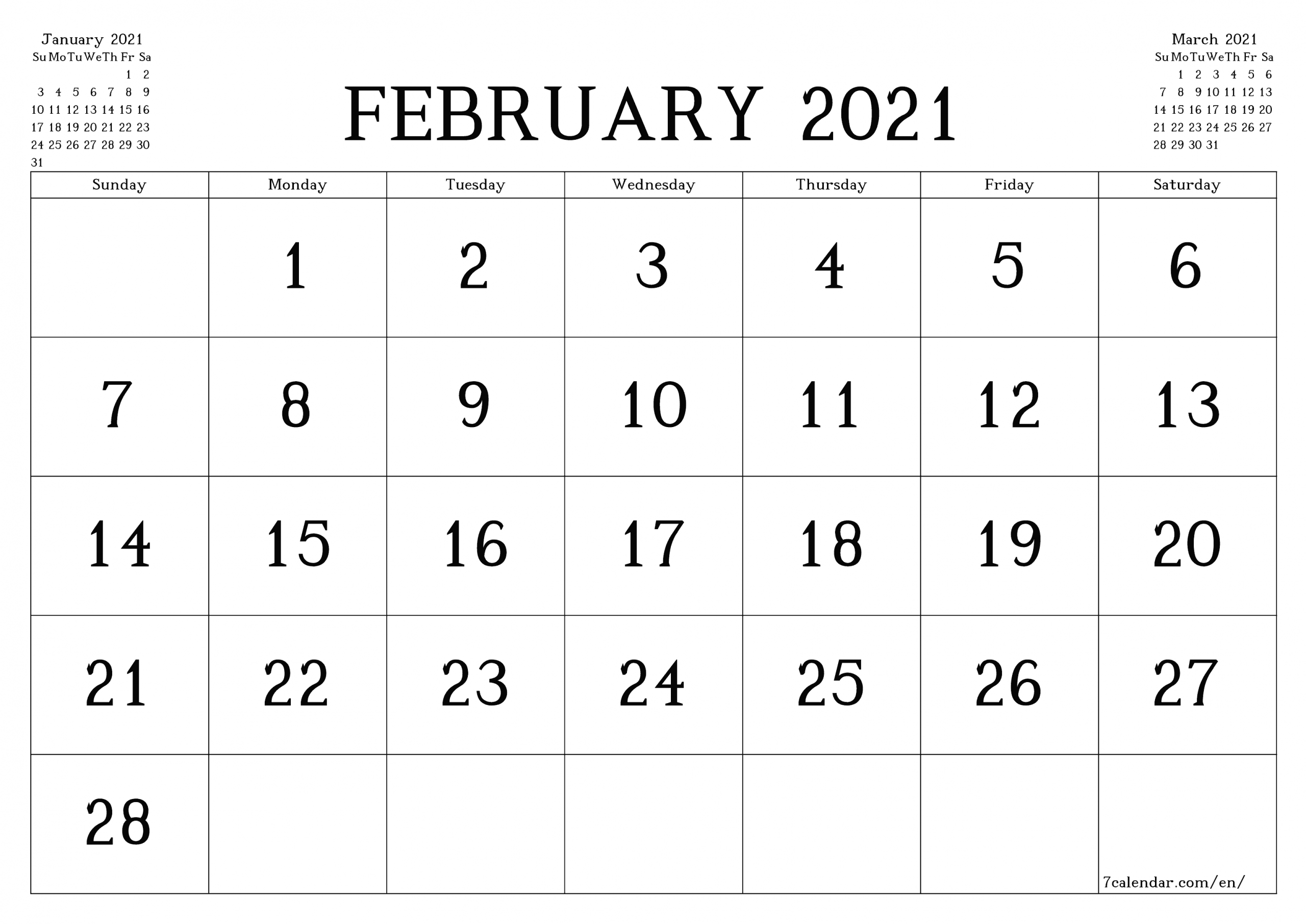 Free Printable Blank Monthly Calendar And Planner For February 2021 - A4, A5 And A3 Pdf And Png