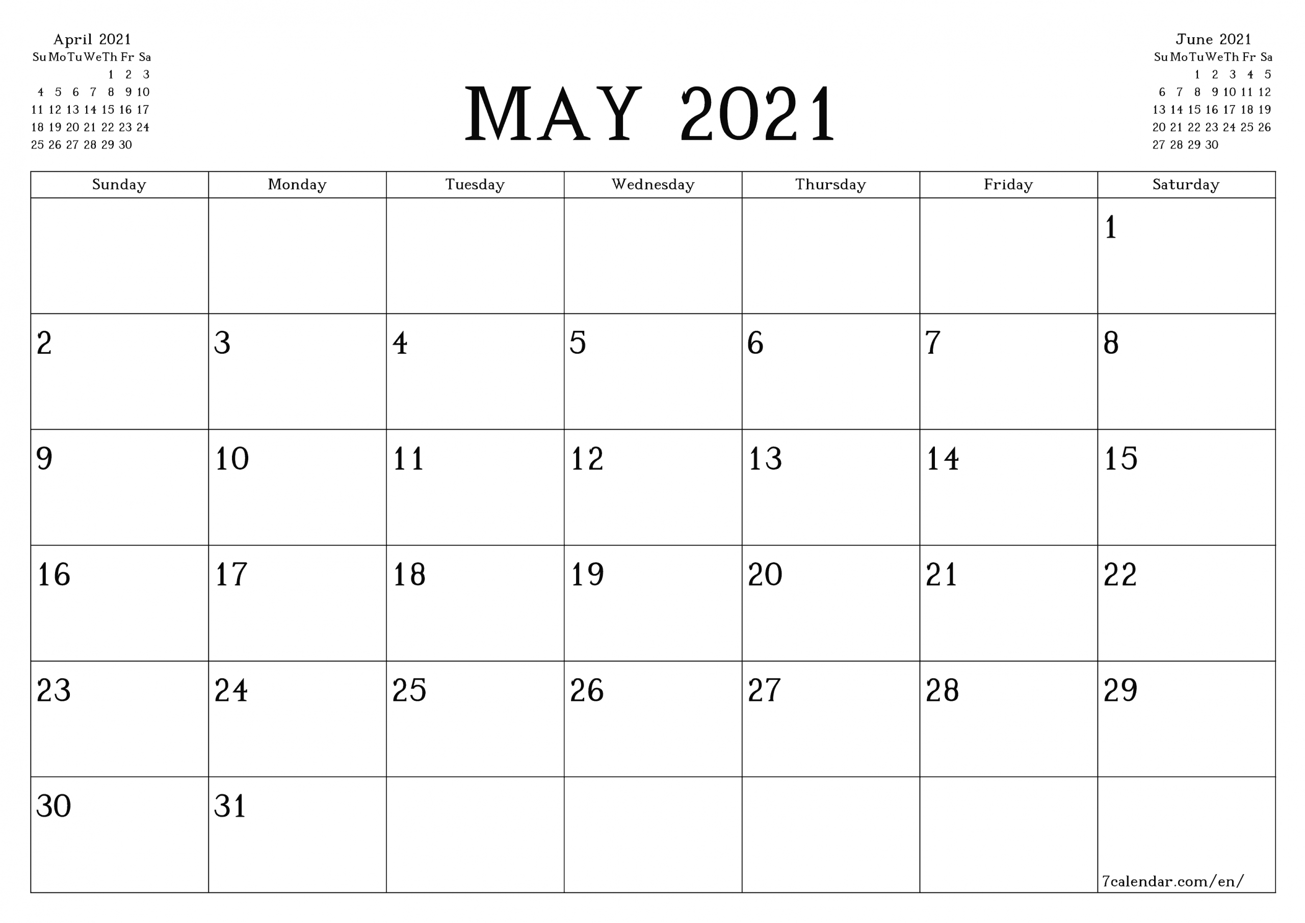 Free Printable Blank Monthly Calendar And Planner For May 2021 - A4, A5 And A3 Pdf And Png