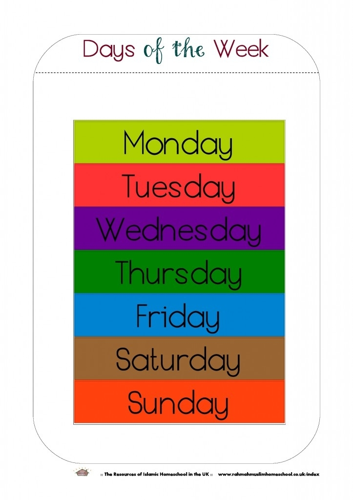 Free Printable Days Of The Week Workbook And Poster | The Resources Of Islamic Homeschool In The Uk
