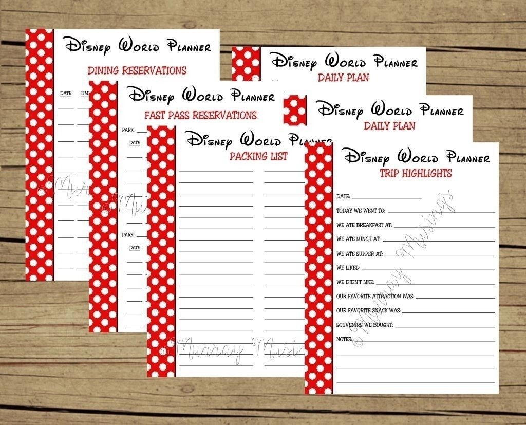 Free Printable Disney Itinerary Template | Calendar Template Printable