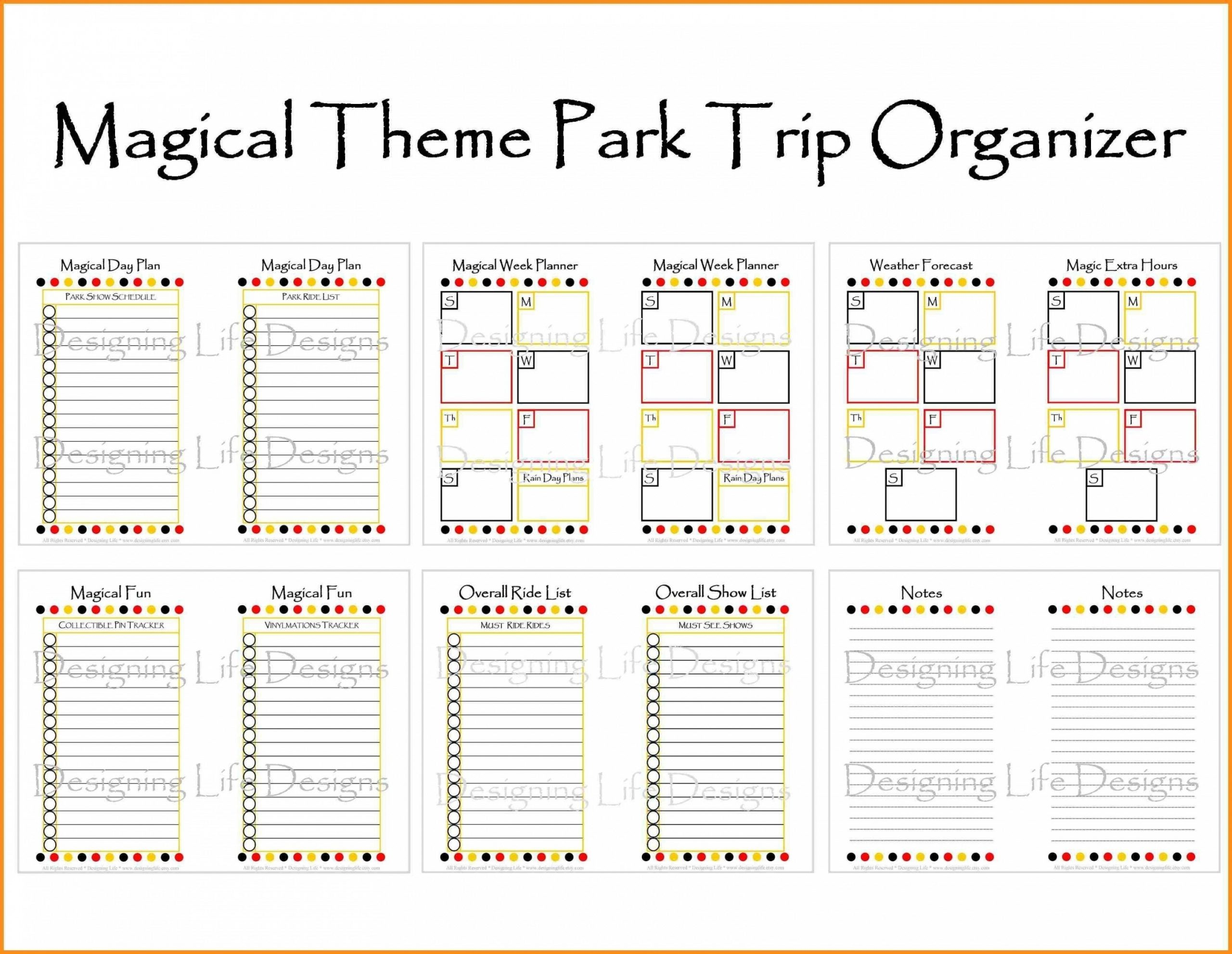 Free Printable Disneyland Itinerary Template | Calendar Template Printable