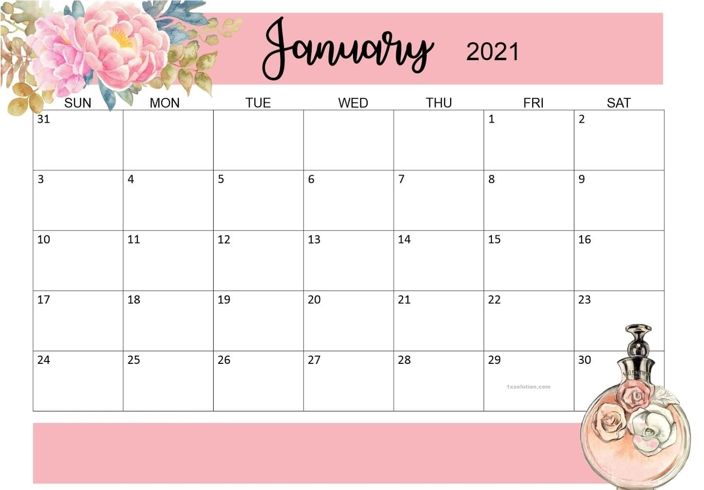 Free Printable January 2021 Calendar - For Events, Appointments | | Calendar