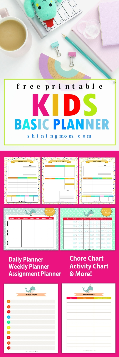 Free Printable Kids Planner : Cute And Colorful! | Kids Planner, Assignment Planner, Printable