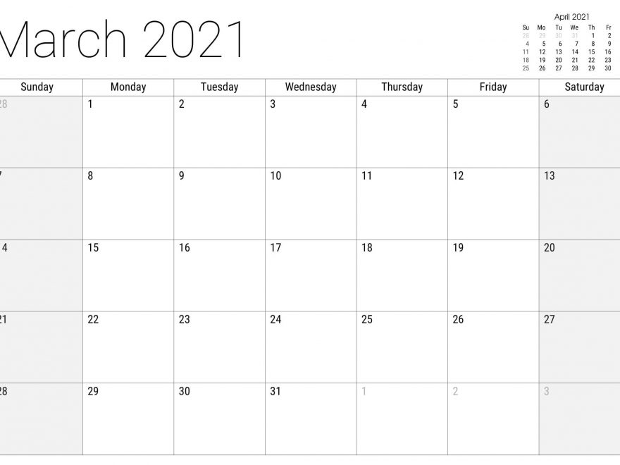 Free Printable March 2021 Calendar Editable Template - Set Your Plan & Tasks With Best Ideas