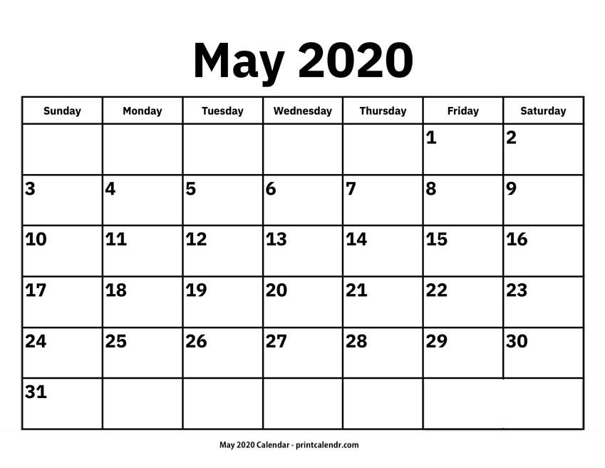 Free Printable May 2020 Calendars - Print Calendr