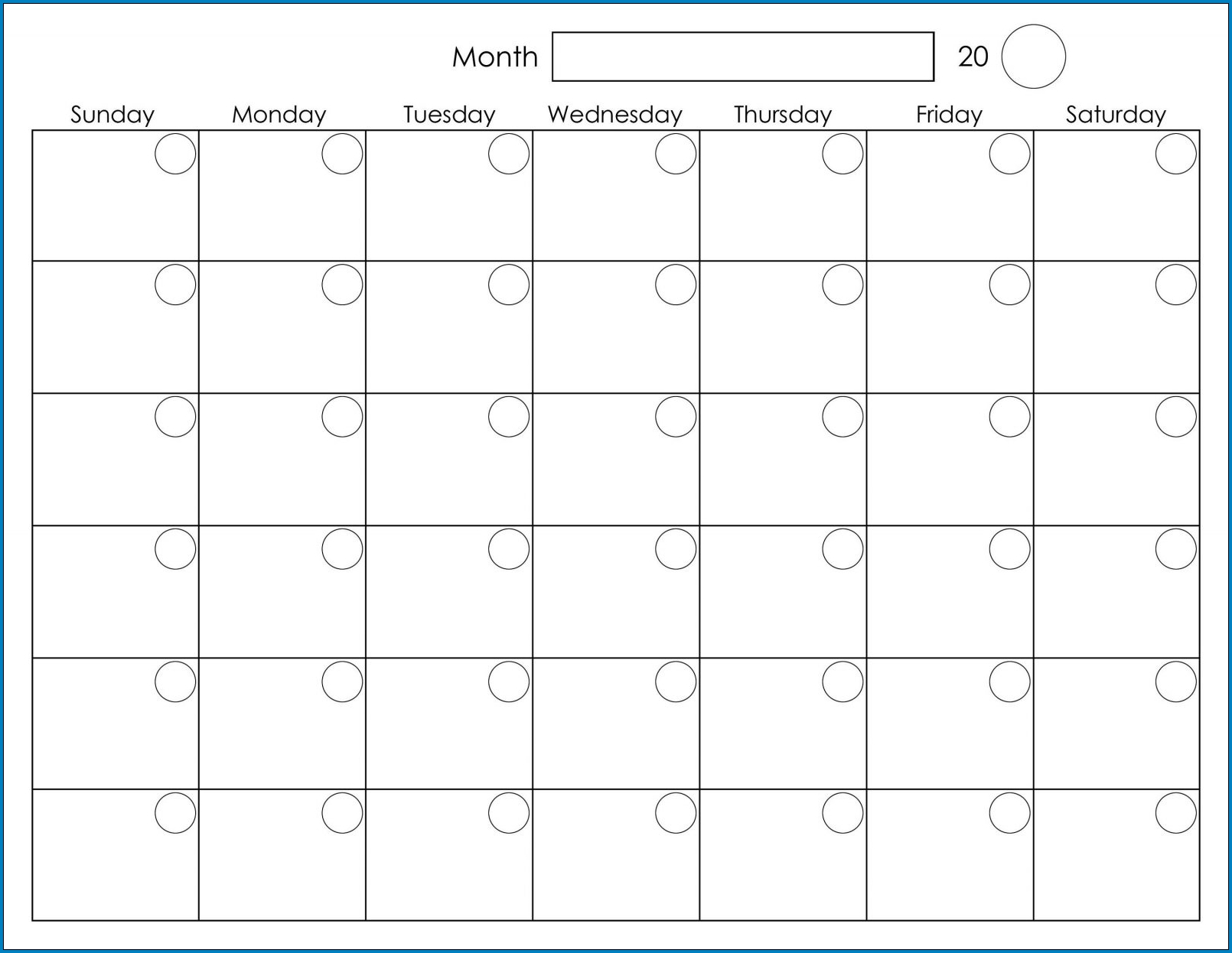 Free Printable Monthly Calendar Template | Templateral