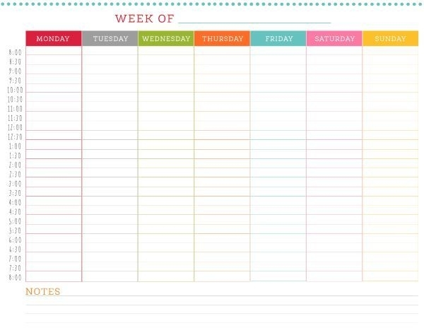 Free Printable Weekly Schedule   Weekly Schedule, Weekly Planner Template, Weekly Calendar Template
