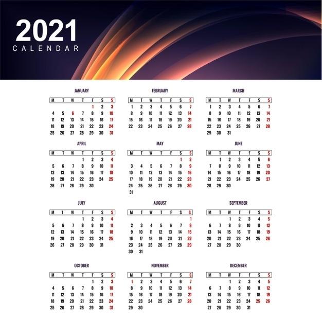 Free Vector   Modern Calendar 2021 Template Design