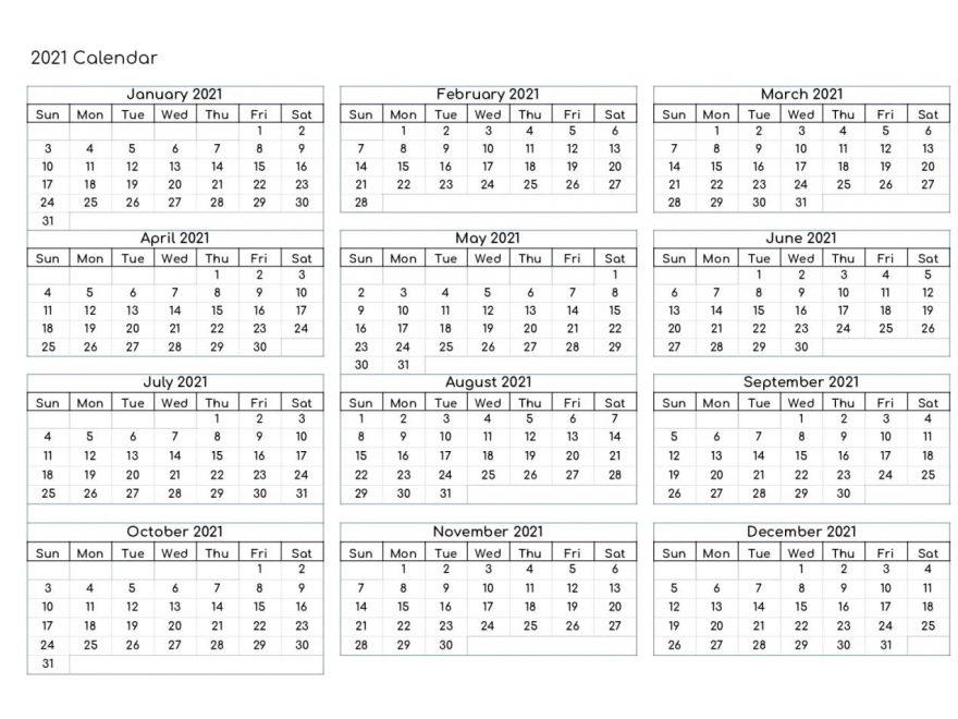 Free Yearly 2021 Calendar Printable Templates - Calendar Edu
