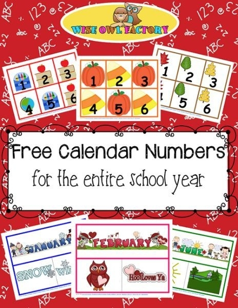 Full Year Of Calendar Numbers Printable Free Pdfs (With Images) | Classroom Calendar, Calendar