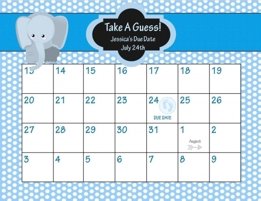 Guess The Due Date Calendar Template Free | Printable Calendar Template 2020
