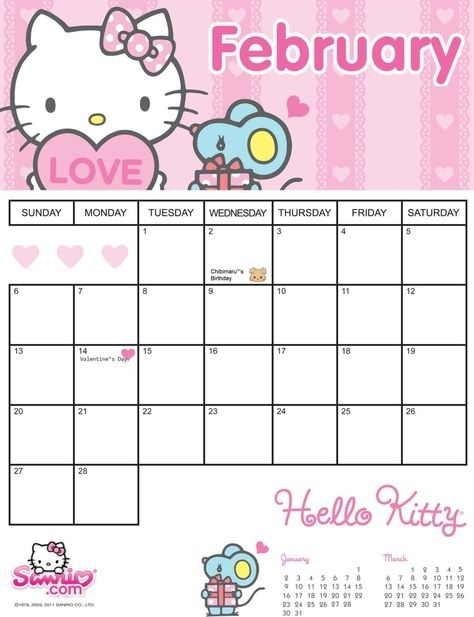 Hello Kitty Printable Calendar July 2019 Monthly | Calendar Template Get | Print Calendar, Hello