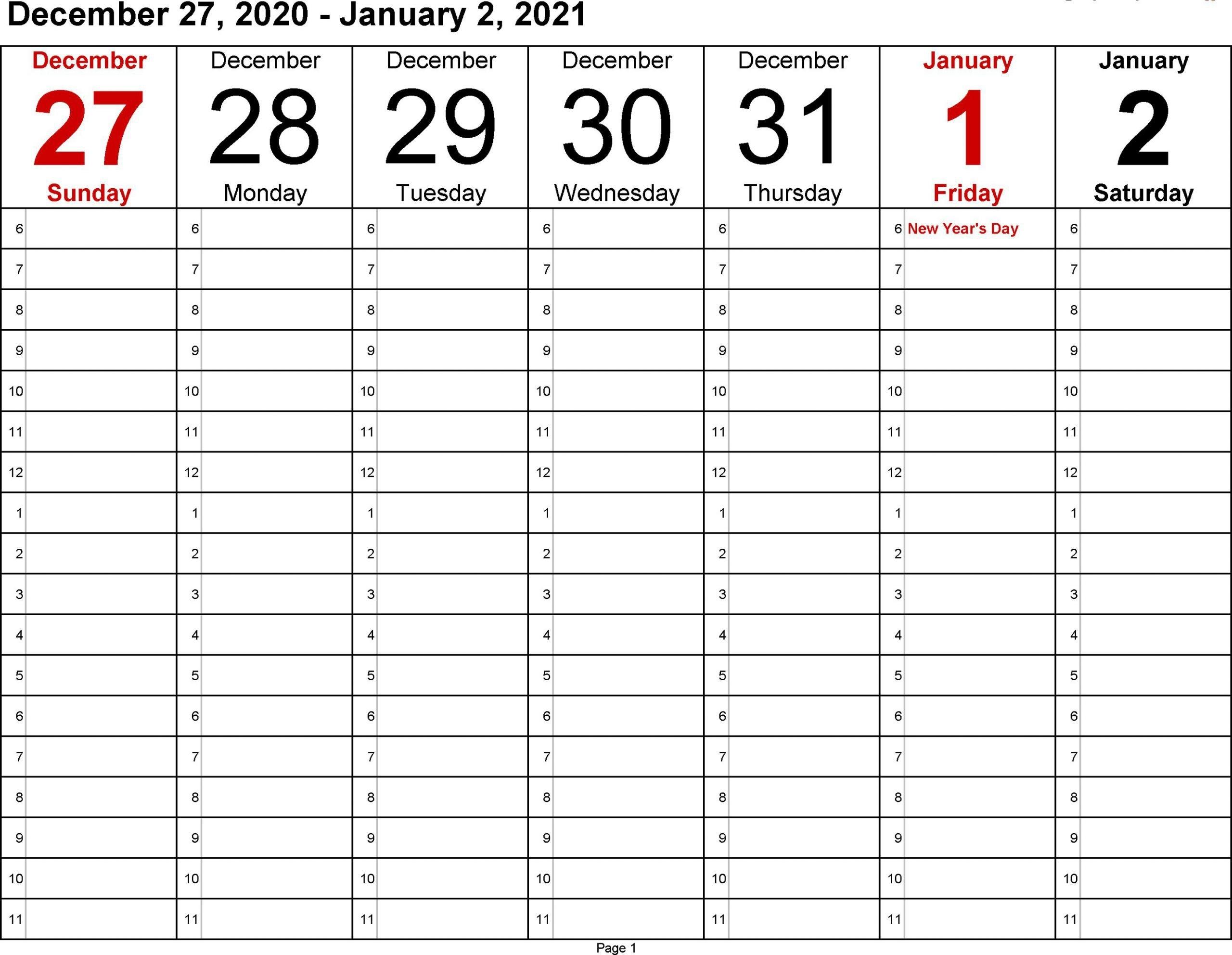 January 2021 Weekly Calendar | Printable Calendar Design