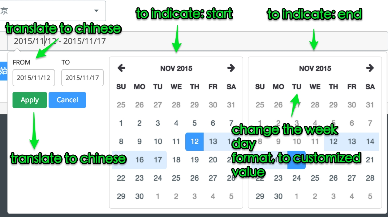 Javascript - How Could I Customize The Date Range Picker With Date Format And Hint Text With