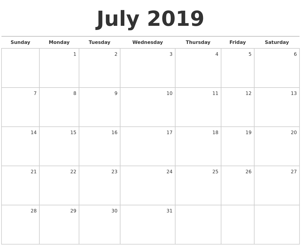 July 2019 Blank Monthly Calendar