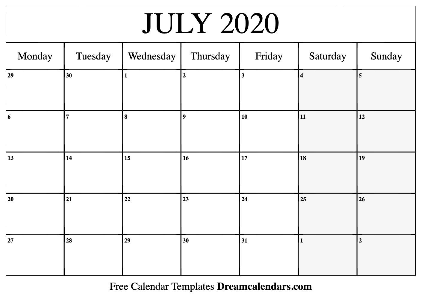 July 2020 Calendar | Free Blank Printable Templates