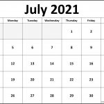 Blank July Calender To Fill Out