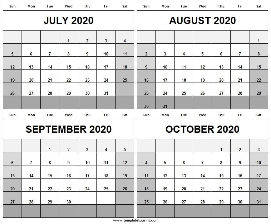 July To October Blank Calendar 2020 Online - Editable Calendar 2020
