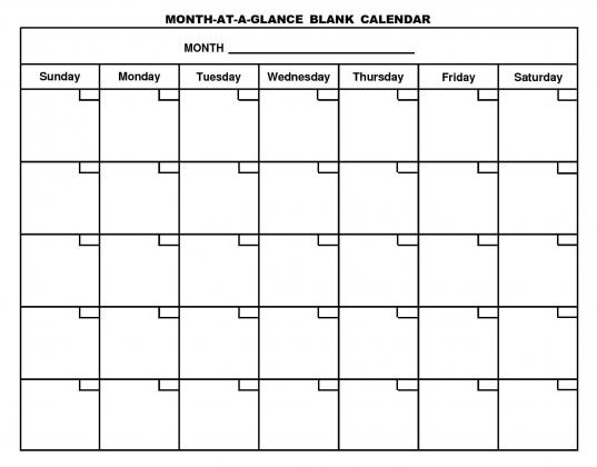 Large Month Calendar Template | Printable Calendar Template 2021
