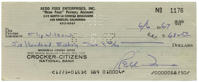 Lot Detail - Redd Foxx Lot Of Items -- 3 Signed Checks, Promissory Note, Etc.