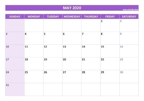 May 2020 Calendar -Calendar.best