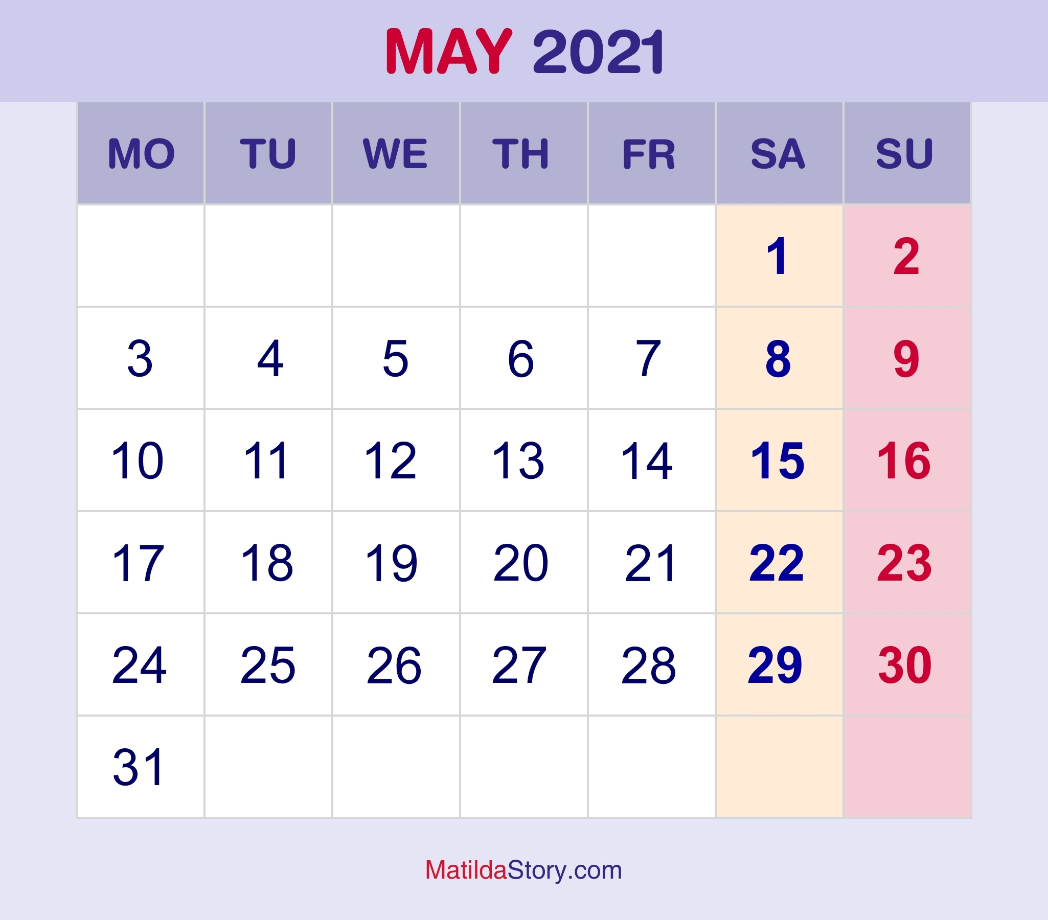 May 2021 Monthly Calendar, Monthly Planner, Printable Free - Monday Start - Matildastory