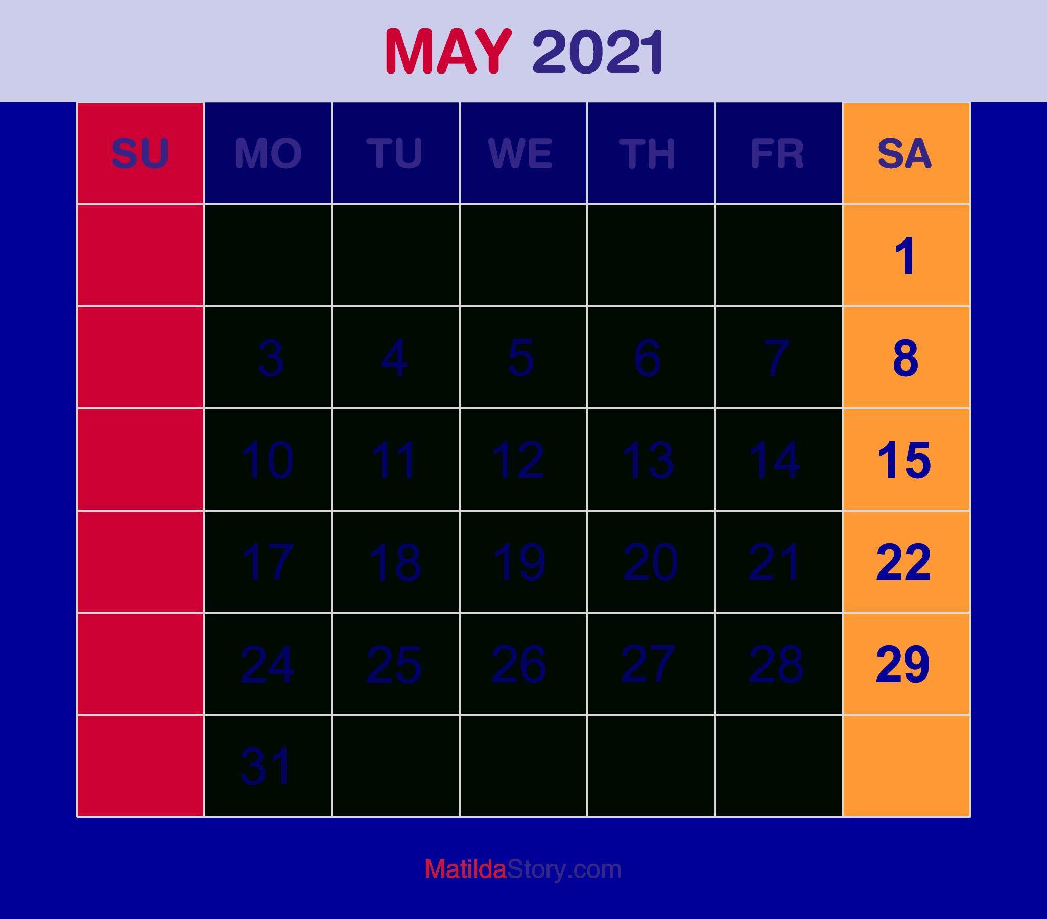 May 2021 Monthly Calendar, Monthly Planner, Printable Free - Sunday Start - Matildastory