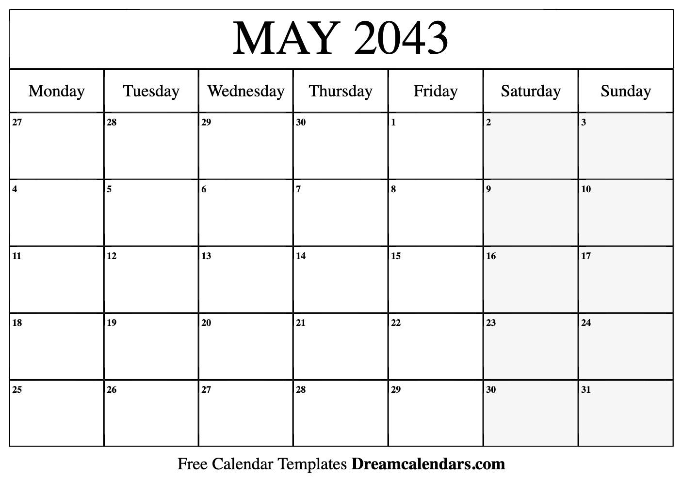 May 2043 Calendar | Free Blank Printable Templates