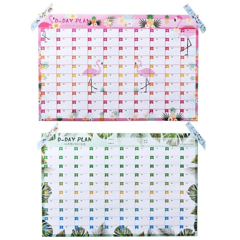 New 100 Days Countdown Calendar Learning Schedule Periodic Planner Table Gift For Kids Study