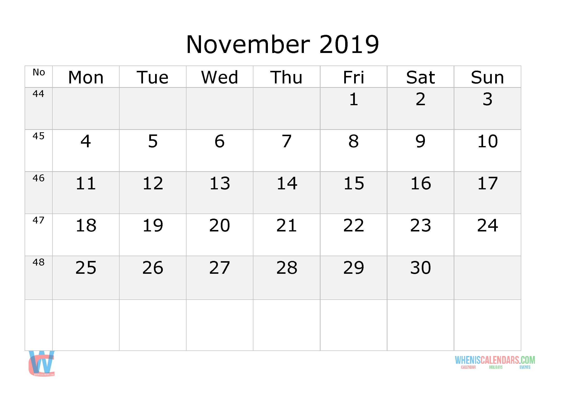 November 2019 Calendar With Week Numbers Printable, Start By Monday | Free Printable 2020