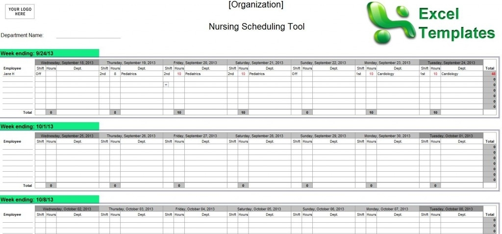 Nursing Schedule Template - Emmamcintyrephotography