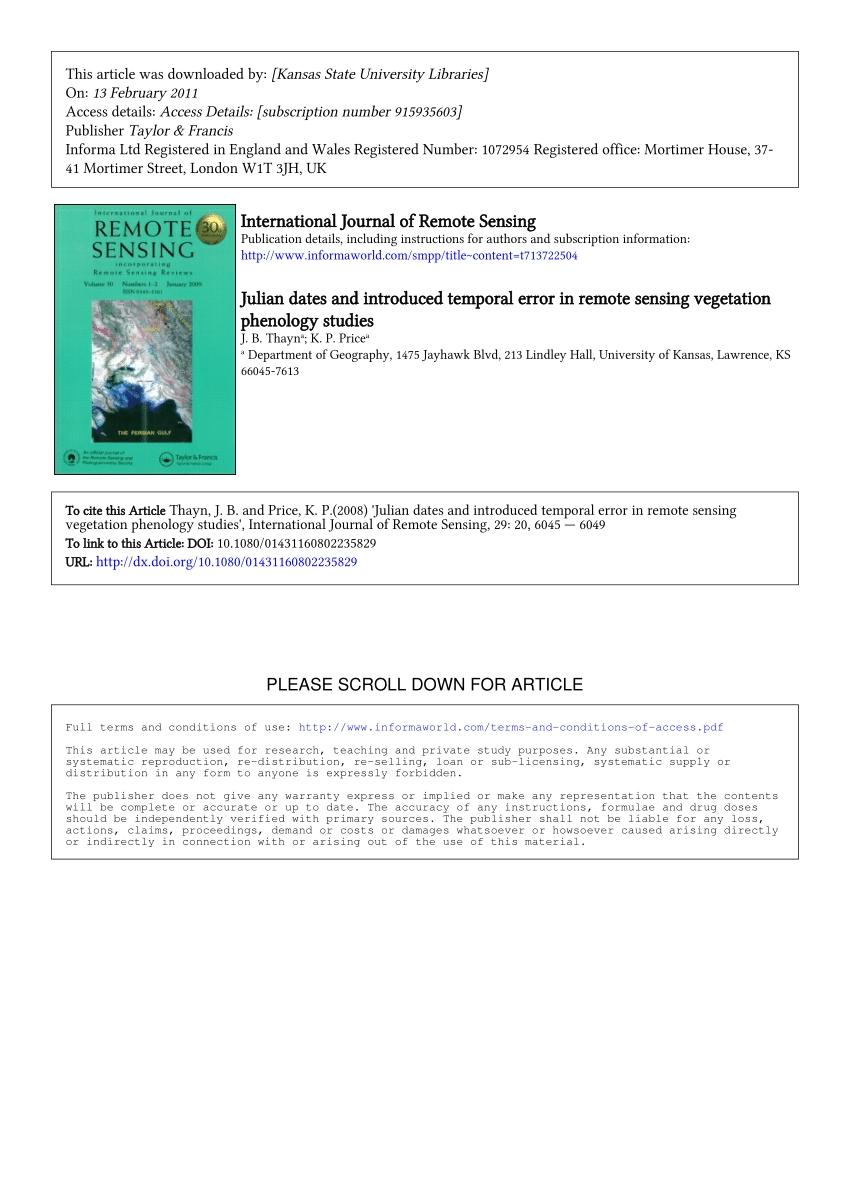 (Pdf) Julian Dates And Introduced Temporal Error In Remote Sensing Vegetation Phenology Studies