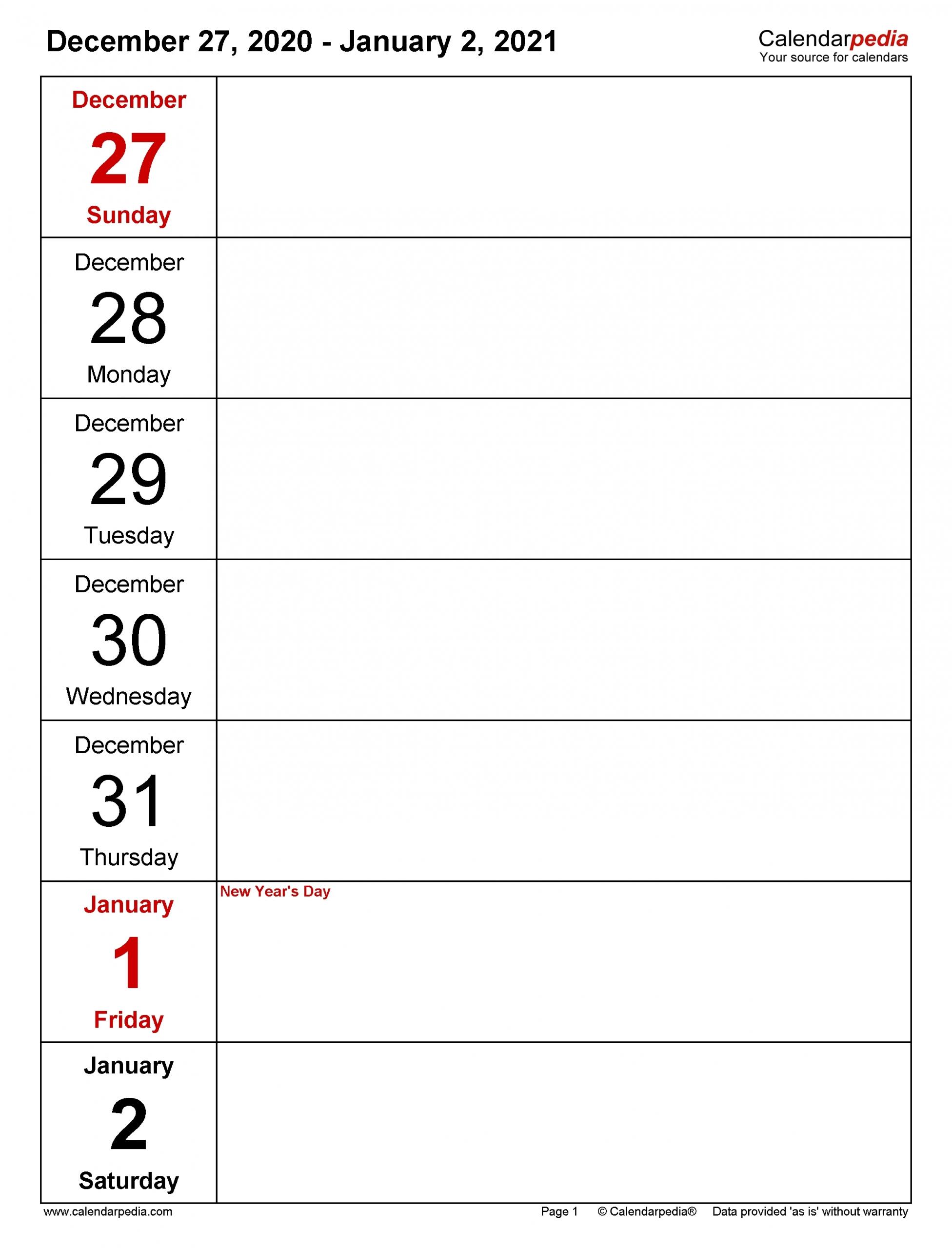Pick Printable Work Week Calendar 2021 Blank - Best Calendar Example