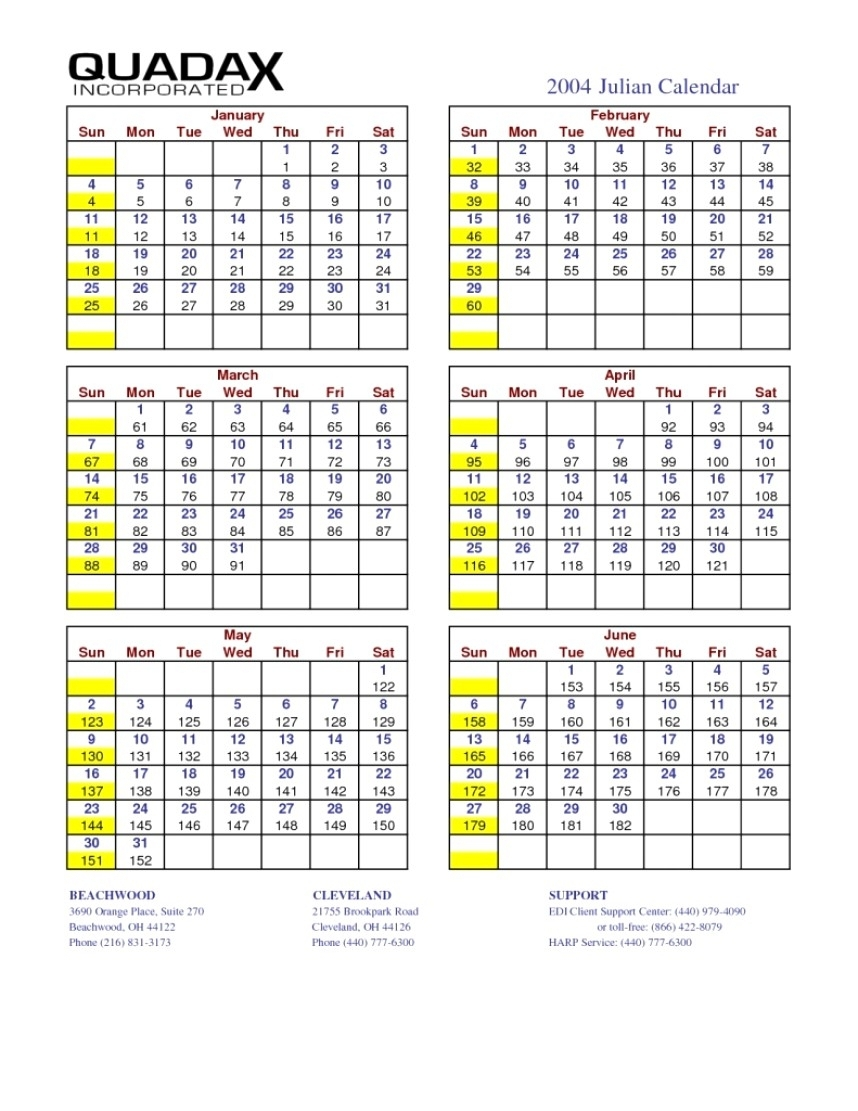 Print Julian Date Calendar | Example Calendar Printable