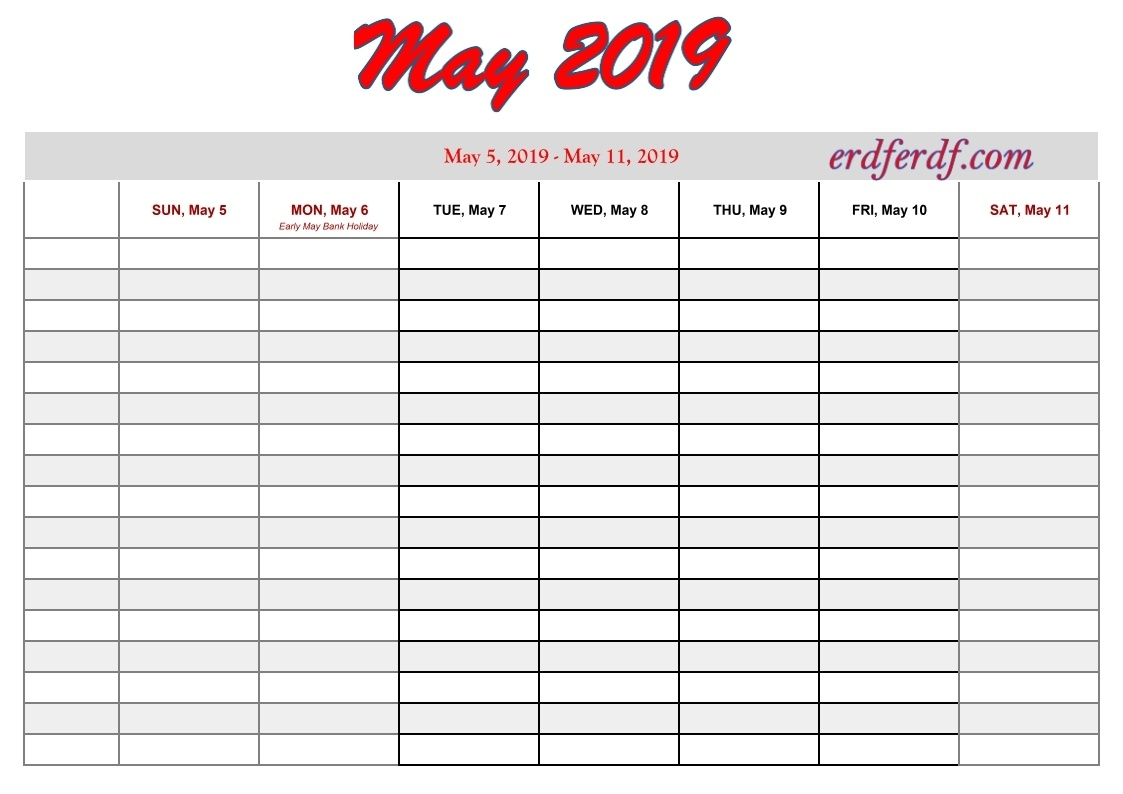 Printable 2019 Calendar By Week | Calendar Template Printable