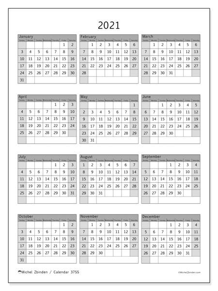 """Printable 2021 """"37Ss"""" Calendar - Michel Zbinden En"""