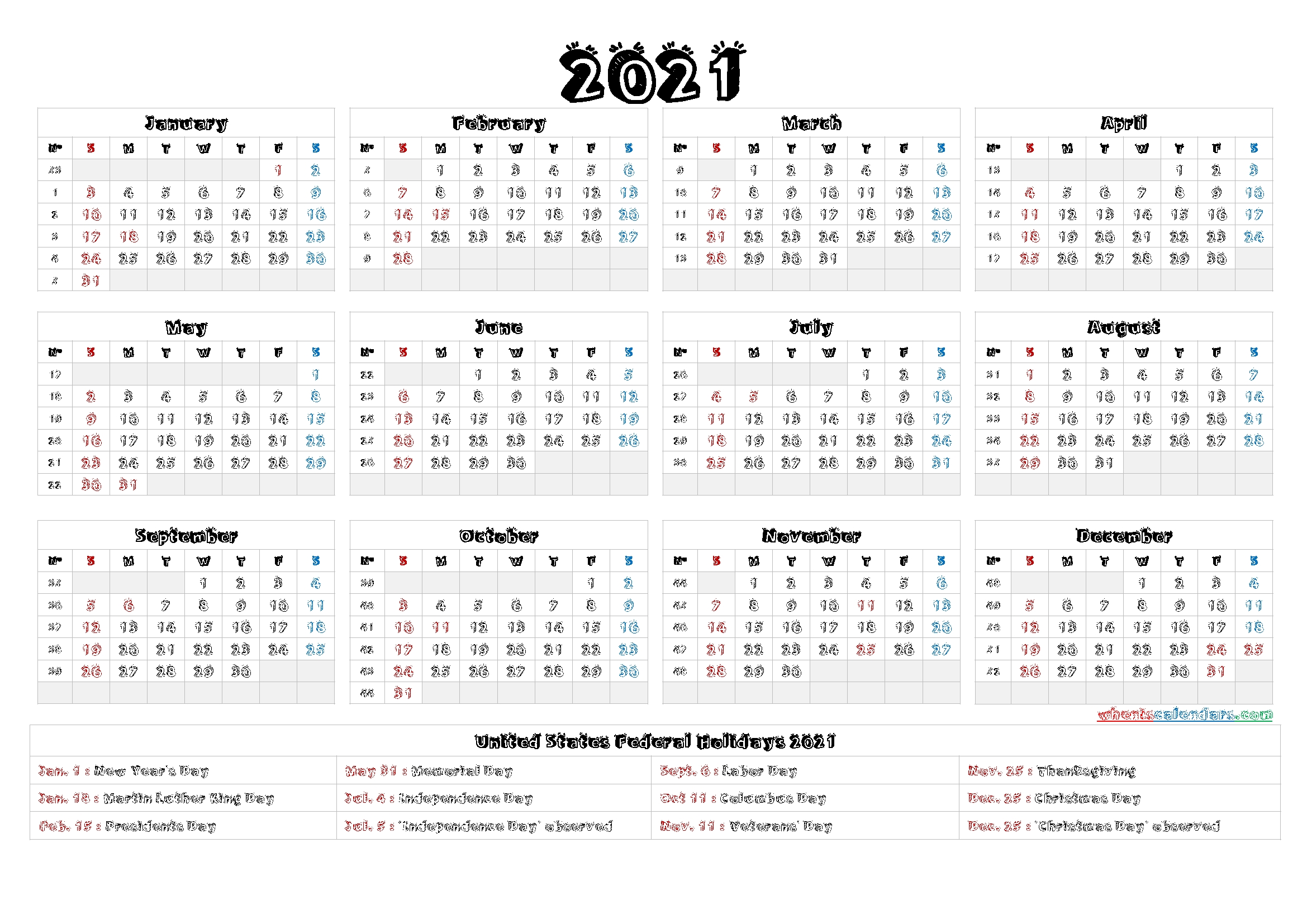 Printable 2021 Calendar With Holidays - 6 Templates - Free Printable 2020 Monthly Calendar With