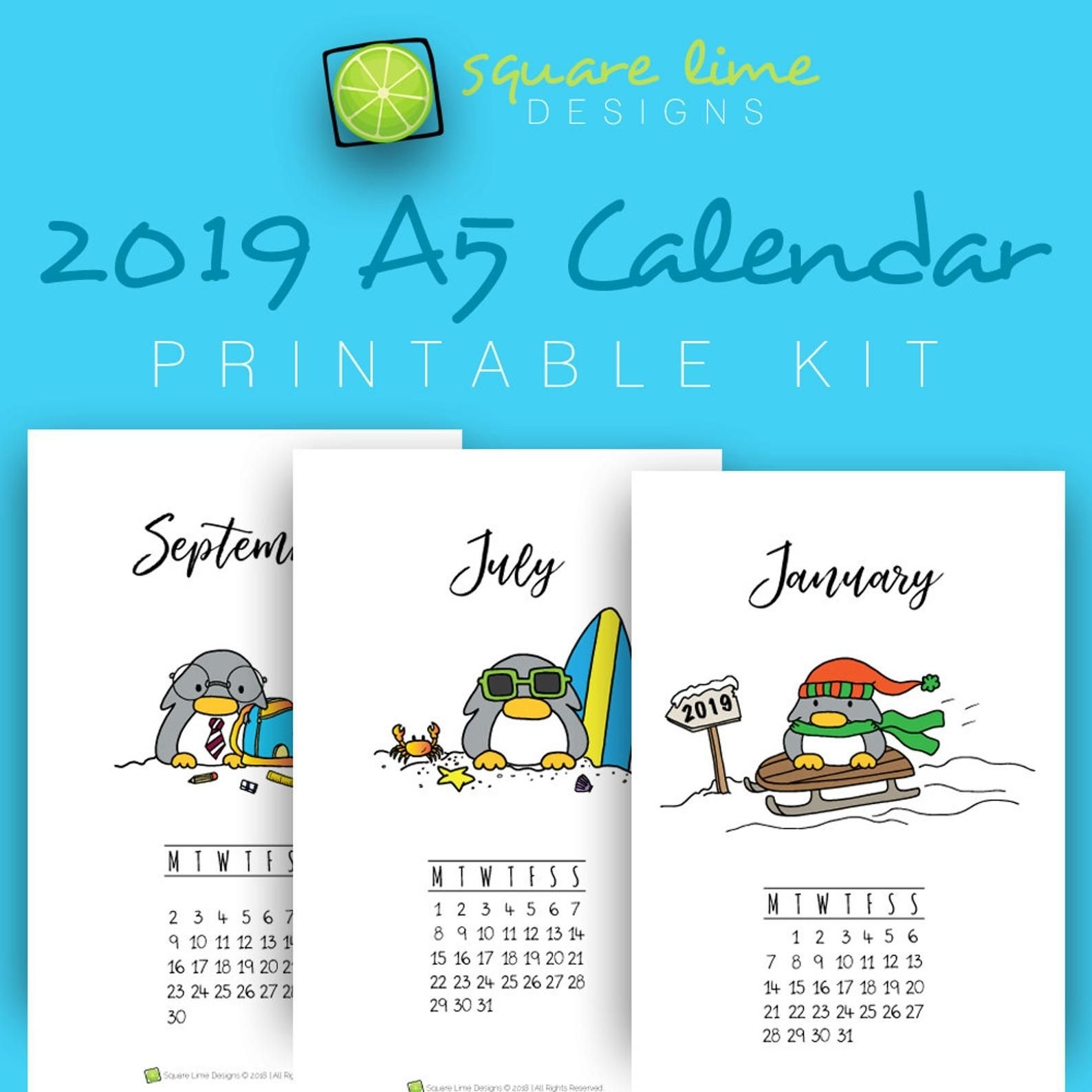Printable Calendar 2019 / Penguin Calendar Printable / Yearly Planner 2019 / A5 Printable / Wall