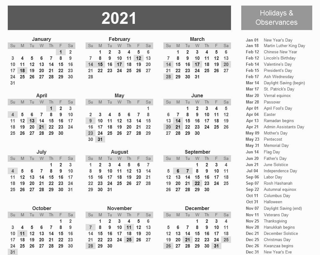 Printable Calendar 2021 With Federal Pay Day | Printable Calendar Template 2020